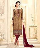 Ankit Fashions Party Wear Light Brown Crepe Printed Unstitch Dress