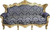 Casa Padrino Barock Wohnzimmer Set Royal Blau Muster/ Gold – 3er Sofa+2er Sofa + 1 Sessel - 4