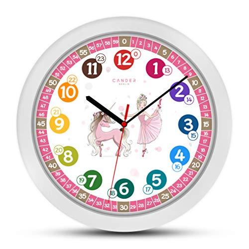 Cander Berlin MNU 1730 Kinderwanduhr Einhorn Prinzessin lautlos 30,5 cm geräuschlos Lernuhr Lernzifferblatt pink rosa - Ablesen der Uhrzeit Lernen