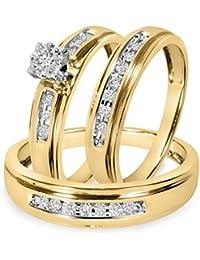 Silvernshine Mens & Ladies 1/4 Ct Diamond Matching Trio Wedding Ring Set 14K Yellow Gold Fn