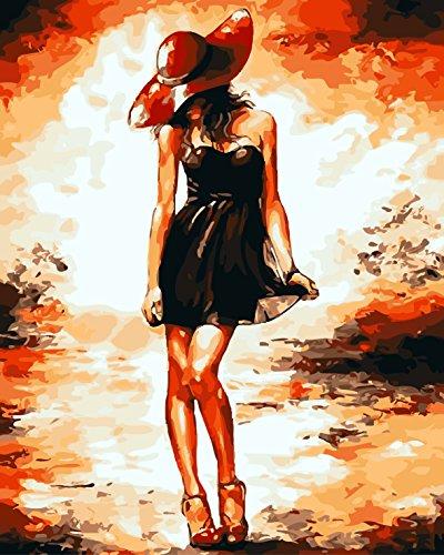 IPLST @ Senza cornice digitale dipinti ad olio da Numeri, Moderno Pop Art Ragazza sexy semi-nude Donna Pittura a olio su tela, DIY Pittura a olio Kit