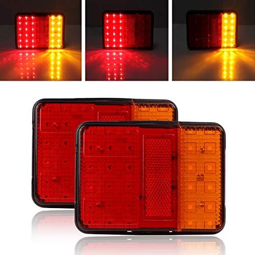 YUGUIYUN 2Pcs Auto 30 LED Rückleuchten Bremsen Hintere Endstück Indicator Light Leuchte Heckleuchte Warnleuchten für 12V Anhänger PKW LKW Boot PKW Wohnmobil - Rot Gelb - Led-marker Anhänger