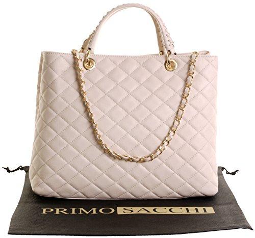 Italienische Leder Classic Design Diamant-Form Gepolsterte Schultertasche Handtasche enthält eine Staubschutztasche Großen Creme