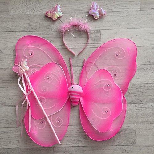 Fee Schmetterling Strass Rosa–Kostüm Kostüm Baby/Kinder 2bis 10Jahre (Rosa Fee Schmetterling Kind Kostüme)