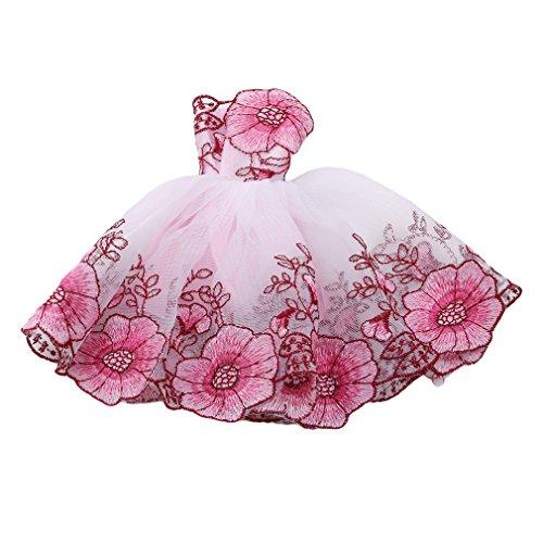 L_shop Toy Doll Dress Dress up Zubehör Hochzeit Prinzessin Set Auto Puppe Kleidung für Abendkleid Mädchen Prinzessin Kostüm Handgemachtes Partei Brautjungfer Festzug,Net Garn,Rosa Kirschblüte
