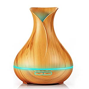 KBAYBO Aroma Diffuser Cool Mist Air Humidifier Ultrasonic Essential Oil Diffuser Wood Grain,7 Color Changing, LED Mood Light for Home Yoga Spa Office Bedroom Baby Room (Light Wood Grain)