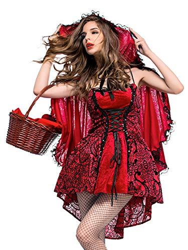 FStory&Winyee Damen Halloween Kostüm Rotkäppchen Kostüm mit Umhang Erwachsene Kleider für Halloween Fest Rollenspiel Kostüm Sexy Cosplay Kleid Karneval Verkleidung Party Nachtclub ()