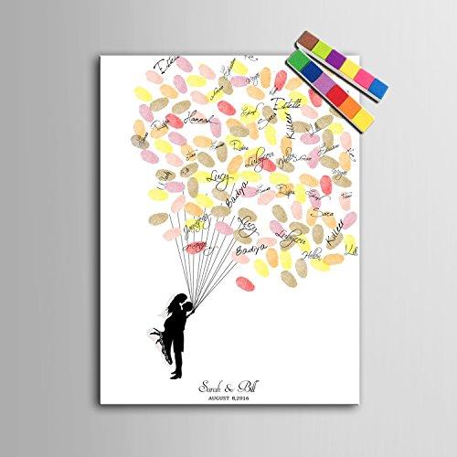 rte Fingerabdruck Leinwand druckt - Guest Book Signatur Fingerabdruck - neue Leute unter den Ballon , Standard , 40*60 (Personalisiert Party Ballons)