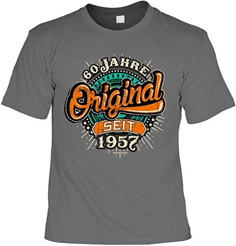 Cooles Geburtstagsgeschenk Leiberl für Männer T-Shirt Set mit Mini T-Shirt 60 Jahre Original seit 1957 Leibal zum Geburtstag Anthrazit