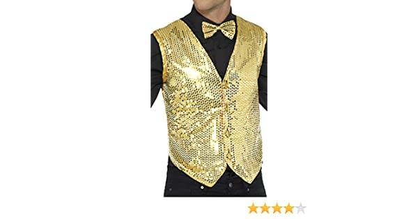 Sequin Waistcoat Gold Adult Mens 1920s Cabaret Fancy Dress Outfit