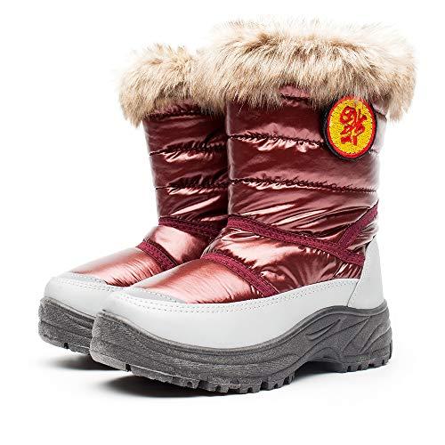 DRKA Pelzgefütterte Schneeschuhe für Jungen und Mädchen, Wasserdichte & Rutschfeste Winterstiefel für Kinder, auch für Kleinkinder(KT924-RED-29)