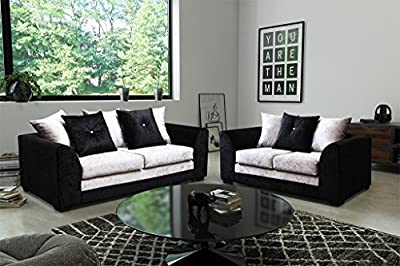 Dylan Byron Black and Grey Crushed Velvet Fabric Sofa Settee Couch 3+2 Seater FREE DELIVERY by Furnitureinstore