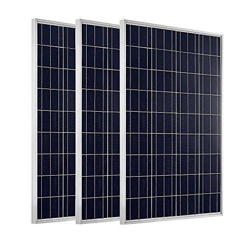 ECO-WORTHY 300W Solarpanel: 3 Stücke 100W Solarmodul Polykristallin Photovoltaik 12 Volt Solarzelle Ideal zum Aufladen von 12V Batterien