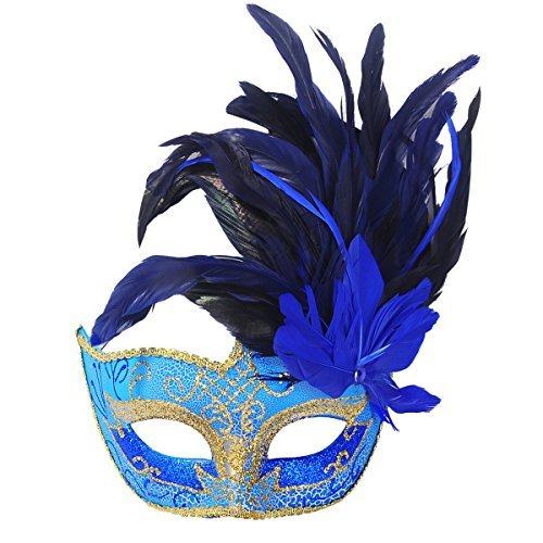 Funpa Masquerade Mask  Venetian Halloween Costume Mask Princess Lace Eyemask Feathers Party Mask with Feather Flash Powder