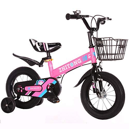 """Kinderfahrrad Freestyle-Mädchen des Jungen der Kinder-Fahrrad, 3 Farben, in Größe 12"""", 14"""", 16"""", 18"""" mit Stabilisatoren. (Color : Pink, Size : 12inch)"""