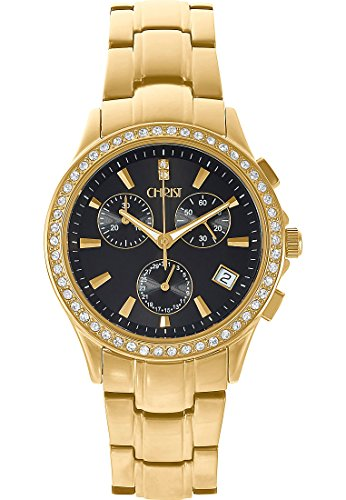 CHRIST times Damen-Armbanduhr Analog Quarz One Size, schwarz, gold
