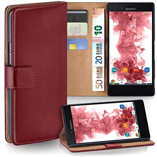 moex Sony Xperia X Compact | Hülle Dunkel-Rot mit Karten-Fach 360° Book Klapp-Hülle Handytasche Kunst-Leder Handyhülle für Sony Xperia X Compact/X Mini Case Flip Cover Schutzhülle Tasche