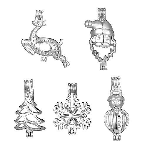 100Mix Edelstahl Tones Legierung Weihnachten Geschenk Schneeflocken Schneemann Baum Deel Santa Claus Bead Käfig Anhänger hinzufügen Ihre eigene Perlen Stones Rock Parfüm ätherischen Ölen streuendem Medaillon Charms - Schneeflocke Baum Rock