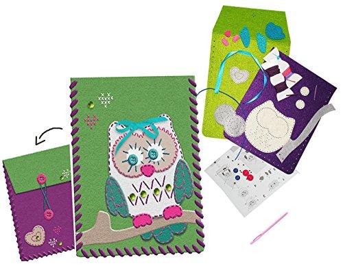 """Preisvergleich Produktbild """" lustige Eule """" - Bastelset - Filz - Buchtasche / kleine Tasche / Büchertasche - Schutz für eBook Reader - zum Sticken, einfaches Nähen per Hand - Hülle - Komplettset filzen - PC Schutzhülle - Creativ - Filzset zum Basteln / Handarbeiten - erstes Nähen Handarbeit - für Kinder / Erwachsene - viele Größen ! Mädchen & Jungen - Eulen - gefilzt - Schutz eBooks / Tablet Cover & Tasche - passend für Kindle / Tolino / Ipad / Ibook / Samsung / Sony u.v.m."""