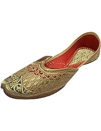 Step n Style Mujer Piel Plano Phulkari Zapatos, color multicolor, talla 40.5