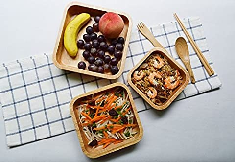K&C 8inches bol hêtre Square salade de bois Servier soupe salade de pâtes et de la taille des fruits