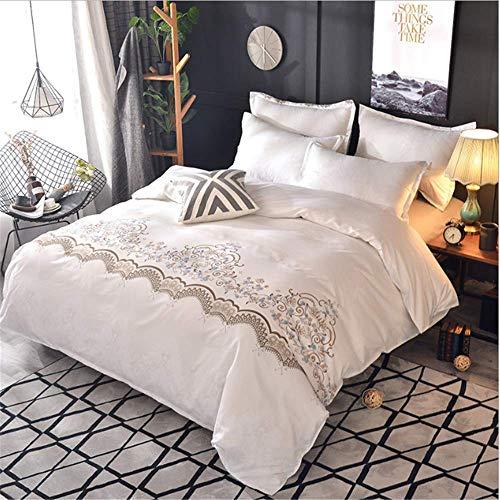 SHJIA Spitze Einfarbig Bettwäsche Set Bettbezug Set Bettwäsche Tröster Bett Leinen D 200x200cm (Grau Bettwäsche Tröster Sets)