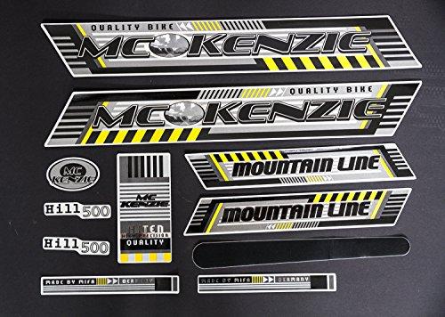 Fahrrad frame decal Satz Aufkleber Rahmen Schriftzug Sticker MC KENZIE schwarz gelb