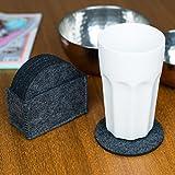 Charles Daily Premium Filz-Untersetzer rund - Untersetzer-Gläser in genähtem Halter - Getränke-Untersetzer aus Filz für Glas, Tassen, Bar & Tisch - 8er Set - grau - 6