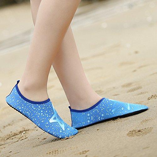 Romacci Unisex Aquaschuhe Strandschuhe Weiche schnelltrockene rutschfeste Schwimmschuhe für Damen&Herren Polyester Gewebe Schuhe 42