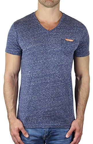 M.Conte Herren Fitness T-Shirt Sportstyle Kurzarm Tee Stickerei Logo V-Kragen mit Brust Tasche Grau Schwarz Marine Navy Hell Blau M L XL XXL Carl Indigo Blau L