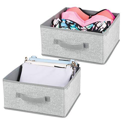 mDesign 2er-Set Aufbewahrungsbox aus Stoff - für Ordnung im Kleiderschrank - Stoffkiste für Kleidung, Decken, Accessoires und mehr - grau (Hängende Schal-organizer)