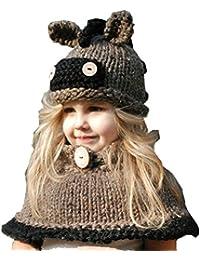 YUANMY Bonnet Animaux Tricoté d Hiver Chapeaux Oreilles Enfants Filles  Cagoules avec Cape Protection Tour f33972654cd
