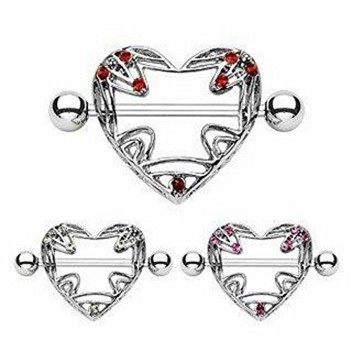 Piercing poitrine cœur avec gem acier chirurgical 316L Taille 1,6 mm x 19 mm rose