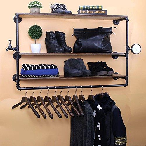 ZHIRONG Colgadores Tienda ropa estilo industrial Madera