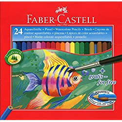 Faber-Castell 114425 - Estuche de 24 lápices de colores de color acuarelable, 1 pincel