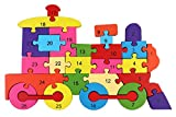 PIGLOO Wooden Railway Engine Puzzle Toy with A-Z Alphabet and Numbers, 1 Piece