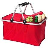 Amazinggirl Einkaufskorb Klappbar Picknickkorb Faltbar carrybag mit Deckel ALU Leer mit Abdeckung Universal