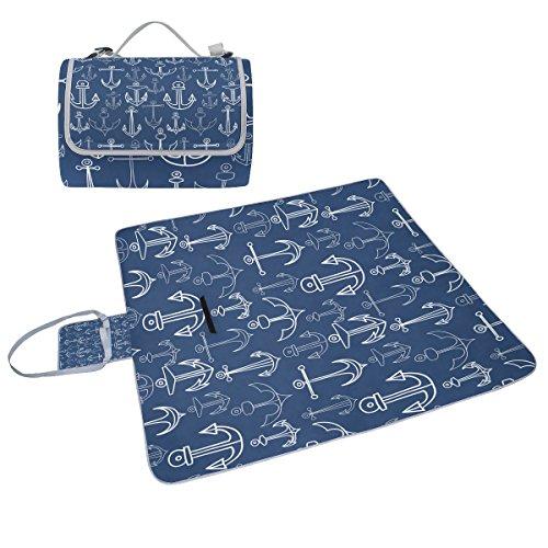 COOSUN Anker Muster Box Picknick-Decke mit Matte Schimmel resistent und wasserdicht Camping-Matte für rving, Picknickdecke, Strand, Wandern, Reisen und Ausflüge