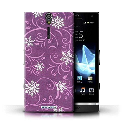 Kobalt® Imprimé Etui / Coque pour Sony Xperia S/LT26i / Rouge conception / Série Motif flocon de neige Rose