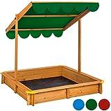 TecTake Sandkasten mit verstellbarem Dach Sitzbänke Spielhaus Holz Sonnendach Bodenplane - diverse Farben -