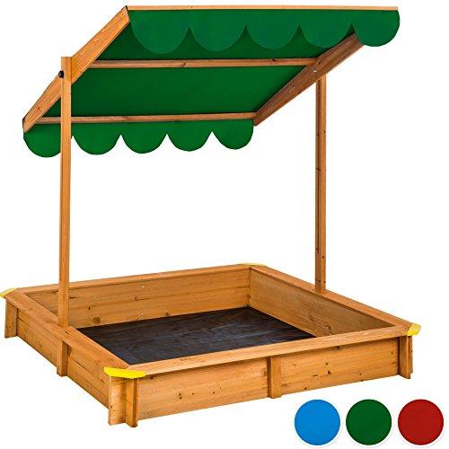 TecTake Sandkasten mit verstellbarem Dach Sitzbänke Spielhaus Holz Sonnendach Bodenplane - diverse Farben - (Grün | Nr. 402222)