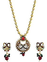 Zeneme CZ Designer Peacock Pendant Set With Chain And Earrings For Girls And Women
