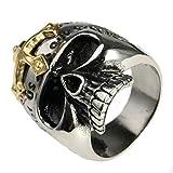 Adisaer Ring Männer Islam Ringe Herren Silber Schwarz Silber Bar Punk Schädel Toten Kopf mit Inschrift Kreuz Ringgröße 62 (19.7) Gothic Retro Vintage Weihnachten Ringe Für Männer