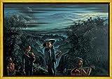 Berkin Arts Walter Spies con Cornice giclée Stampa su Tela-Dipinti Dipinti Belle Arti Manifesto-Riproduzione Decorazione murale Pronto da Appendere(Giavanese Giavanese di Ritorno Ritorno a casa) #XLK