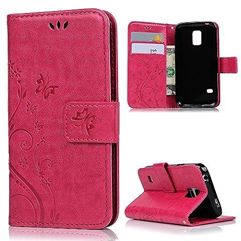 S5 Mini Housse MAXFE.CO Etui en PU Cuir Portefeuille Coque Protection avec Carte Slots Magnétique [Impression] pour Samsung Galaxy S5 Mini - Papillon Fleur Relief