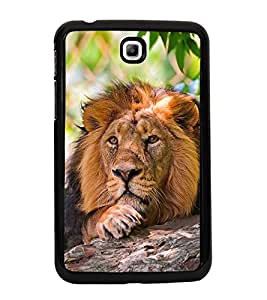 Fuson Premium 2D Back Case Cover Lion on rocks With Multi Background Degined For Samsung Galaxy Tab 3 T211 P3200