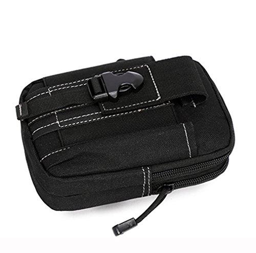 E-Bestar esercito tattico softair borsa marsupio sport uomo impermeabile bag puo' porta cellulare (Nero) Nero