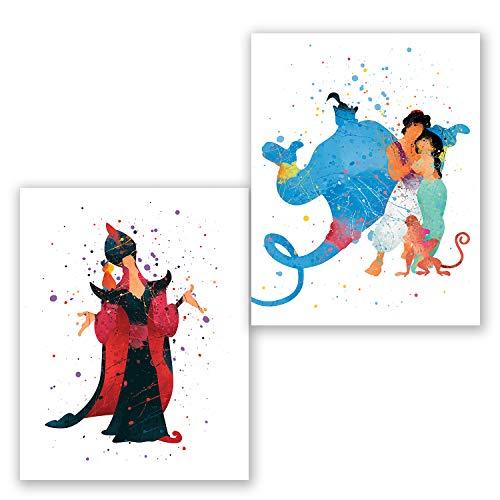 Aladdin Wandposter - Set von 2 Drucken, Aladdin Prinzessin Jasmin Genie Jafar Decor - Kinderzimmer - Party Supplies Dekoration - Kinderzimmer Aquarell Kunst - Geburtstag 8x10 (Party Geburtstag Jasmin)