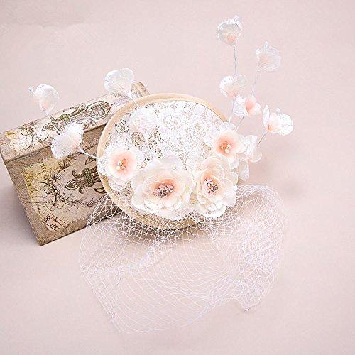 &zhou Tocado de novia, hecho a mano, sombrero, vintage gasa lino casó con accesorios para el cabello, accesorios