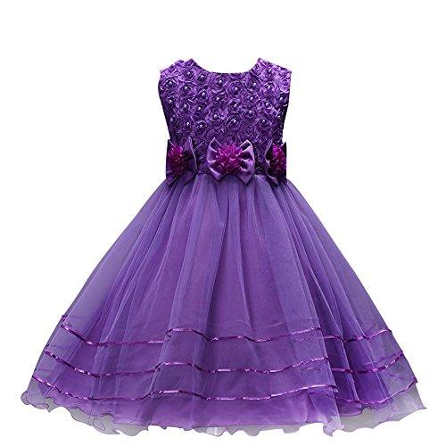 Mädchen Festlich Kleider Kinder Kleider Longra Hochzeit Festkleid mit Rose für Kinder Langes Prinzessin Kleid Karneval Partykleid Ärmellos Sommer Kleider Brautjungfern Kleider (Purple, 140CM 6Jahre) (Knit Pants Purple)